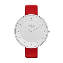 Skagen Gitte Red Leather Strap Watch SKW2289