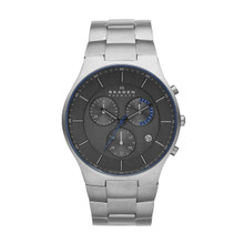 Skagen Balder Men's Steel Link and Titanium Case Chronograph Watch SKW6077