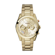 Fossil Ladies Perfect Boyfriend Multifunction Stainless Steel Watch Gold-Tone ES3884