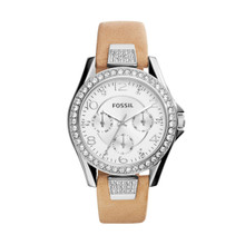 Fossil Ladies Riley Multifunction Leather Watch Light Brown ES3889 Silver