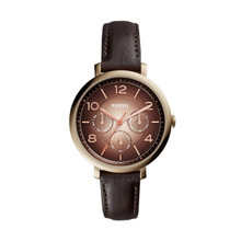 Fossil Ladies Jacqueline Multifunction Leather Watch Dark Brown ES3898 Brown