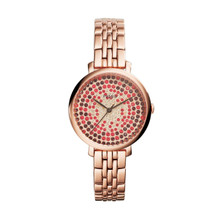 Fossil Ladies Jacqueline Three-Hand Stainless Steel Watch Rose ES3900 Red