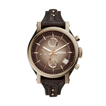 Fossil Ladies Original Boyfriend Chronograph Leather Watch Dark Brown ES3907 Brown