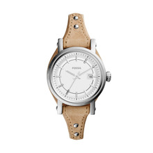 Fossil Ladies Small Original Boyfriend Three-Hand Date Leather Watch Light Brown ES3908