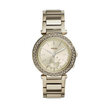 Fossil Ladies Urban Traveler Multifunction Stainless Steel Watch Champagne ES3914 Gold