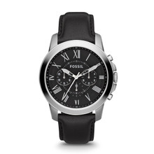 Fossil Men's Grant Chronograph Leather Watch - Black FS4812 Black