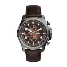 Fossil Men's Dean Chronograph Leather Watch Dark Brown FS5113 Brown