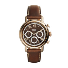 Fossil Men's Buchanan Chronograph Leather Watch Dark Brown FS5116 Brown