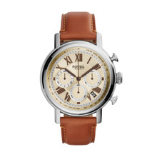 Fossil Men's Buchanan Chronograph Leather Watch Light Brown FS5117 Beige