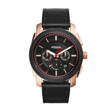 Fossil Men's Machine Chronograph Leather Watch Black FS5120 Black