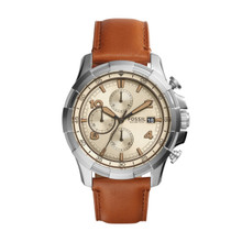 Fossil Men's Dean Chronograph Leather Watch Light Brown FS5130 Beige