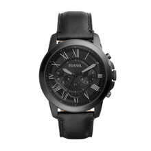 Fossil Men's Grant Chronograph Leather Watch Black FS5132 Black