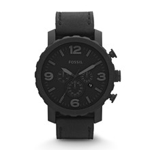 Fossil Men's Nate Chronograph Leather Watch - Black JR1354 Black
