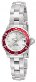 Invicta Women's 12521 Pro Diver Quartz 3 Hand Metallic White Dial Watch