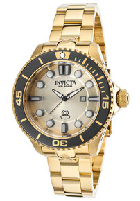 Invicta Women's 19822 Pro Diver Quartz 3 Hand Gold Dial Watch