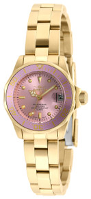 Invicta Women's 21535 Pro Diver Quartz 3 Hand Light Pink Dial Watch