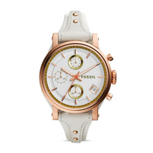 Fossil Women's ES3947 Original Boyfriend Chronograph Light Brown Leather Watch