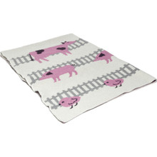 In2Green Eco Baby Farm Animals Pink/Milk Throw
