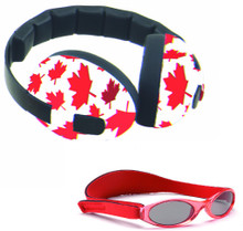 Red Leaf Earmuffs and Sunglasses Combo by Baby Banz