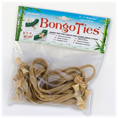 "Bongo Ties Standard 5"" Elastic Cable Ties (10 Pack) - Natural"