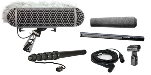 Sennheiser MKH416 Shotgun Mic W/ K-Tek KEG100CCR Graphite Cabled Boompole & Rode Blimp Windshield Kit