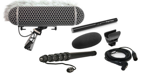 Sennheiser MKE600 Shotgun Mic W/ K-Tek KEG100CCR Graphite Cabled Boompole & Rode Blimp Windshield Kit