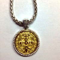 Saint Benedict Silver Gold Pendant, cross side