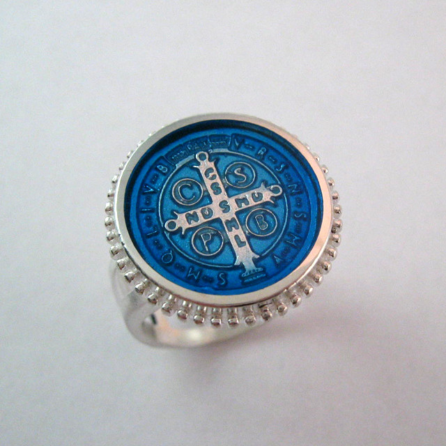 Saint Benedict Frame Enamel Ring Protection From Evil