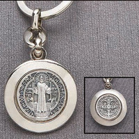Saint Benedict Silver Plated Keychain