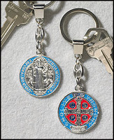 Saint Benedict Key Chain - Silver Plated/Enamel