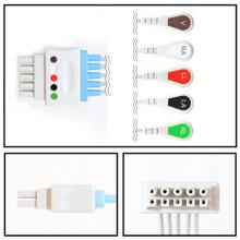 GE Datex-Ohmeda 5 Lead Dual Pin ECG Leadwires (Snap) (411202-001)