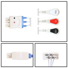 Nihon Kohden 5 Lead Dual Pin to 3 Lead ECG Leadwires (Snap)