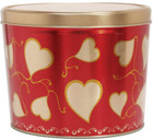 Valentine's Day Tin 2 Gallon filled with All Natural, Cheddar and Dark Caramel
