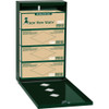 Simultaneously dispenses 3 rolls (600 bags) from convenient, 3-hole front panel. Holds 1-spare roll of 200 bags for a total of 800 bags.