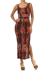 Belted Printed Sleeveless Maxi Dress
