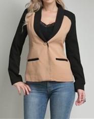 Khaki&Black One-Button Blazer