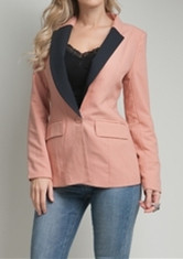 Rose&Black One-Button Blazer
