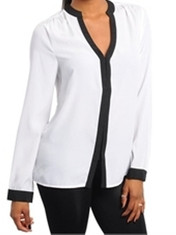 White&Black Long Sleeve Blouse