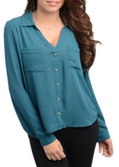 Hi-Low Button Up Long Sleeve Blouse