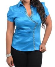 Jeweled Plus Size Short Sleeve Blouse