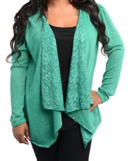 Plus Size Lace Long Sleeve Cardigan