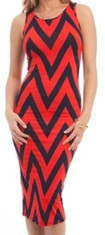 Chevron Sleeveless Tank Midi Dress