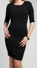 Black 3/4 Sleeve Knee-Length Dress