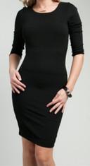 Black 3/4 Sleeve Knee-Length Dress