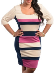 Plus Size Striped 3/4 Sleeve Dress