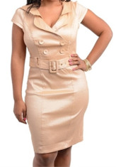 Cap Sleeve Belted Plus Size Dress