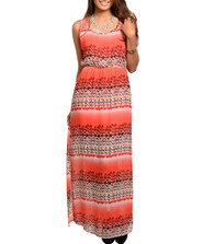 Sleeveless Lace Abstract Print Maxi Dress
