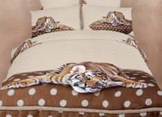 Dolce Mela - Sleepy Tiger, XL Twin size 100% Cotton 4 Piece Animal Print Bedding Duvet Cover Sheet Set, DM485T