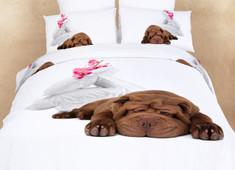 Dolce Mela - Sleepy, Queen size 100% Cotton 6 Piece Animal Print Bedding Duvet Cover Sheet Set, DM489Q
