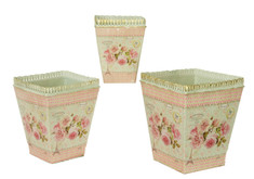 French country planters square vintage painted metal decorative vases & flower pots by Dolce Mela (set of 3)